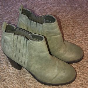 Olive green ankle booties